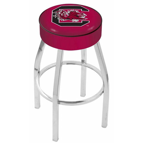 University of South Carolina 25'' Chrome Finish Swivel Backless Counter Height Stool with 4'' Thick Seat