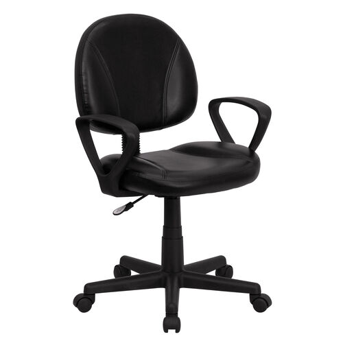 Mid-Back Black Leather Ergonomic Swivel Task Chair with Arms