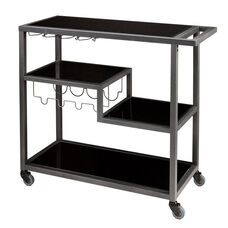 Zephs 40''W x 16''D Metal and Black Glass Bar Cart with Locking Casters - Gun Metal