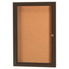 1 Door Indoor Illuminated Enclosed Bulletin Board with Bronze Anodized Aluminum Frame - 24''H x 18''W