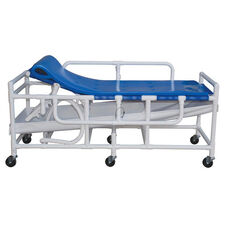 Royal Blue Shower Gurney with Headrest and Drain Pan with Casters - 28''W X 79''D X 43''H