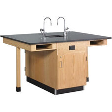 4 Station Wooden Science Center with 1'' Thick Black Epoxy Resin Top and Locking Cabinets - Set of 2 Stations - 132''W x 48''D x 36''H
