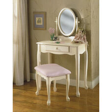 Off White Vanity w/ Mirror and Bench