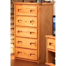 Rustic Style 33''W x 18''D Solid Pine 5 Drawer Chest - Cinnamon