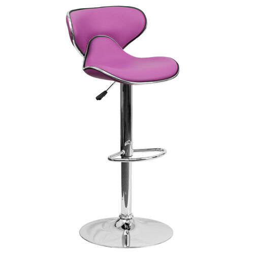 Contemporary Cozy Mid-Back Purple Vinyl Adjustable Height Barstool with Chrome Base