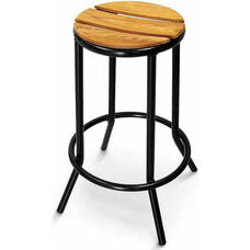 Sand Key Collection Outdoor Backless Barstool with Teak Seat - Black
