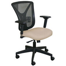 Fermata Executive Mesh Chair with Black Base - Flax Fabric