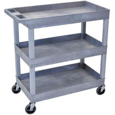 Molded Thermoplastic Resin 3 Tub Shelf Utility Cart with Tub Top Shelf and 4'' Casters - Gray - 35.25''W x 18''D x 36.25''H