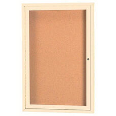 1 Door Indoor Illuminated Enclosed Bulletin Board with Ivory Powder Coated Aluminum Frame - 24''H x 18''W