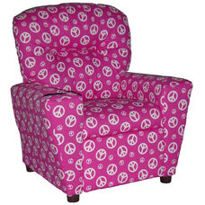 Kids Home Theatre Recliner with Cupholder - Peace Pink