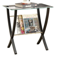 Bentwood 24''H Magazine Table with Tempered Glass Top - Cappuccino