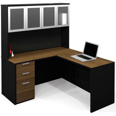 Pro-Concept L-Shaped Workstation with High Hutch and Drawers - Milk Chocolate Bamboo and Black