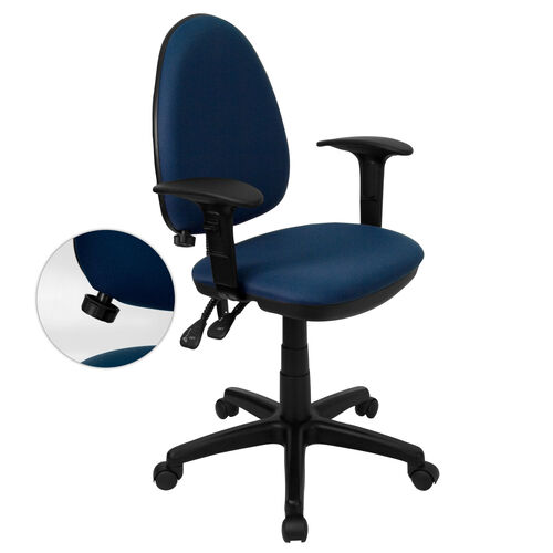 Mid-Back Navy Blue Fabric Multifunction Swivel Task Chair with Adjustable Lumbar Support and Adjustable Arms