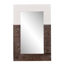 Wagars Modern 24''W x 36''H Wall Mirror with Burnt Oak Wood Grain - White