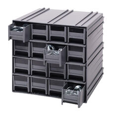 Interlocking Storage Cabinet with 16 Drawers - Gray