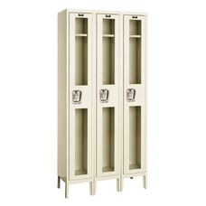 Safety Clear View Three Wide Single-Tier Locker Assembled - Parchment Finish - 36''W x 12''D x 78''H