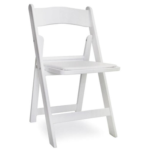 Gala Resin Steel Reinforced Stackable Folding Chair with Padded Seat - White