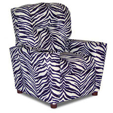 Kids Upholstered Theater Recliner with Cup Holder - Zebra