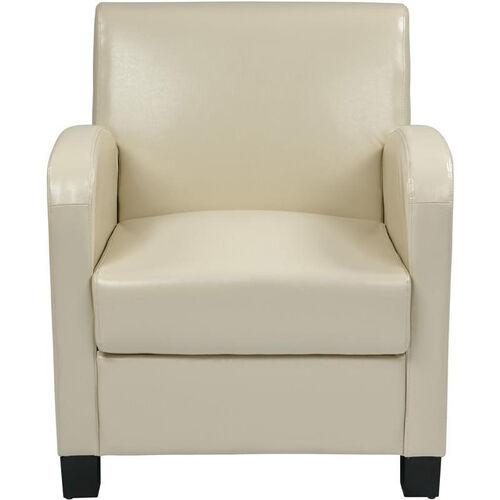 OSP Designs Eco Leather Metro Club Chair - Cream with Espresso Legs