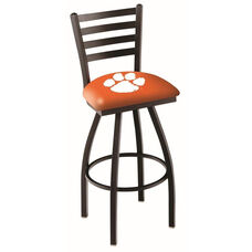 Clemson University 25'' Black Wrinkle Finish Swivel Counter Height Stool with Ladder Style Back