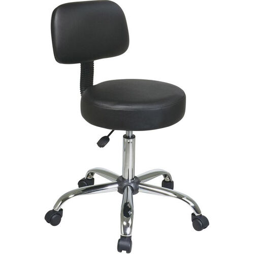 Work Smart Chrome Finish Vinyl Seat and Back Stool with Chrome Base and Casters - Black