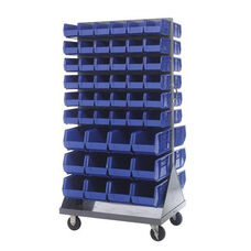 36''L x 25''W x 72''H Mobile Double Sided Louvered Rack Unit with 96 Bins - Blue