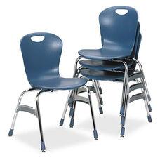 Virco® Zuma Ergonomic Stack Chair - 18'' High Bucket Seat - Blueberry - 4/Carton