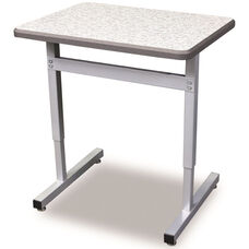 Une-T Plymouth Adjustable Height Desk with Beveled Lotz Armor Edge Top - 27''W x 24''D x 22.25''H - 31.25''H