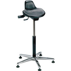 Industrial Specialty Black Polyurethane Sit Stand Stool with Cast Aluminum Base and Glides