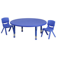 45'' Round Blue Plastic Height Adjustable Activity Table Set with 2 Chairs