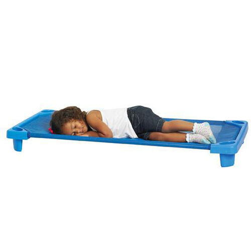 Blue Fully Assembled Single Standard Stackable Streamline Cot - 52''D x 23''W x 5''H