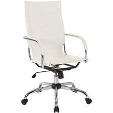 Ave Six Trinidad High Back Vinyl Office Chair with Chrome Base and Casters - White