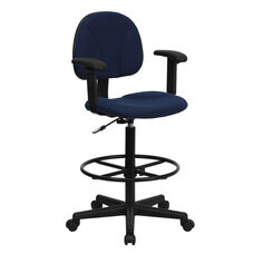 Navy Blue Patterned Fabric Drafting Chair with Adjustable Arms (Cylinders: 22.5''-27''H or 26''-30.5''H)