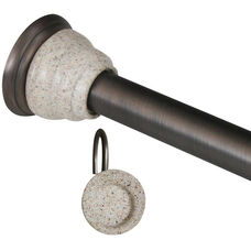 Deco Oil Rubbed Bronze Shower Tension Rod and Hook Set