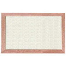 Burlap Weave Vinyl Bulletin Board with Red Oak Frame and Clear Lacquer Finish - Off White - 12''H x 18''W