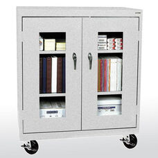 See-Thru Series 36'' W x 18'' D x 48'' H Clear View Mobile Counter Height Cabinet - Multi Granite