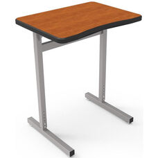 Une-T Plymouth II Adjustable Height Desk with Beveled Lotz Armor Edge Top - 27''W x 20''D x 22.25''H - 31.25''H