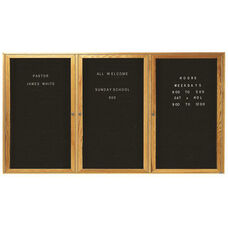 3 Door Enclosed Changeable Letter Board with Oak Finish - 48''H x 96''W