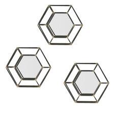 Wyson Modern Industrial 3 Piece Deep Metal Honeycomb Wall Mirror Set - Matte Black