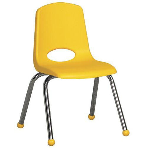 14''H Vented Back Stacking Chair with Matching Seat and Ball Glides with Chrome Legs - Yellow