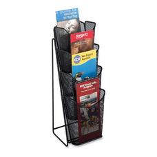 Safco Pamphlet Display - Mesh - 4 Pockets - 5 1/4'' x 7'' x 16 1/2'' - Black