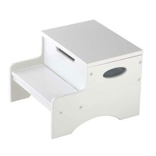 Kids Sturdy Wooden Step 'N Store Two Step Stool with Storage - White