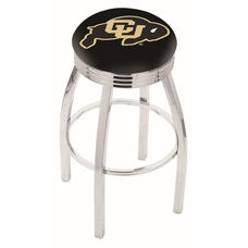 University of Colorado 25'' Chrome Finish Swivel Backless Counter Height Stool with 2.5'' Ribbed Accent Ring