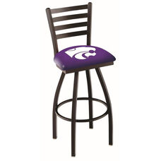 Kansas State University 25'' Black Wrinkle Finish Swivel Counter Height Stool with Ladder Style Back