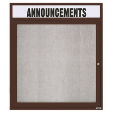 1 Door Outdoor Enclosed Bulletin Board with Header and Bronze Anodized Aluminum Frame - 36''H x 30''W