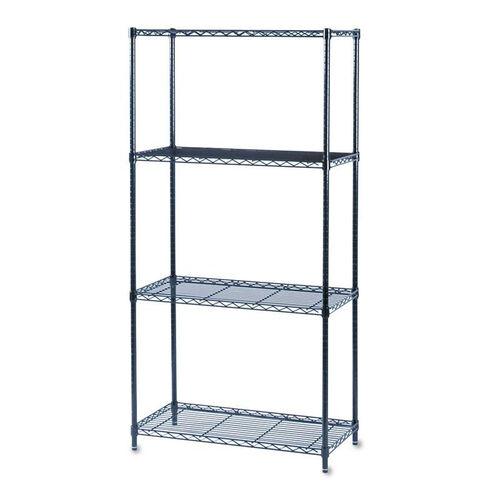 Safco® Commercial Wire Shelving - Four-Shelf - 36w x 18d x 72h - Black