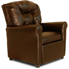 Kids 4 Button Tufted Back Faux Leather Recliner - Pecan Brown