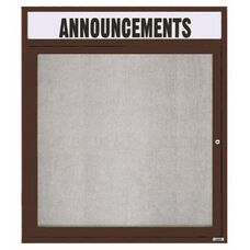 1 Door Outdoor Illuminated Enclosed Bulletin Board with Header and Bronze Anodized Aluminum Frame - 36''H x 30''W