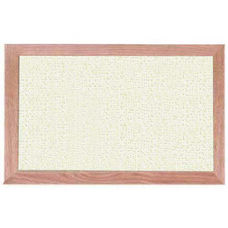 Burlap Weave Vinyl Bulletin Board with Red Oak Frame and Clear Lacquer Finish - White Rice - 12''H x 18''W
