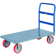 Single Handle Platform Truck with Wheel Brakes - 24''W x 48''D